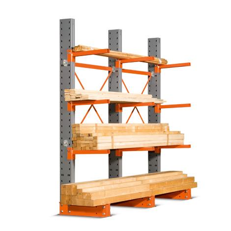 Kragarmregal einseitig. 4 bis 6 Ständer. Tragkraft bis 500kg je Arm, Höhe 2964mm