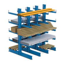 Kragarmregal META doppelseitig, 4 bis 6 Ständer, Tragkraft bis 630kg je Arm
