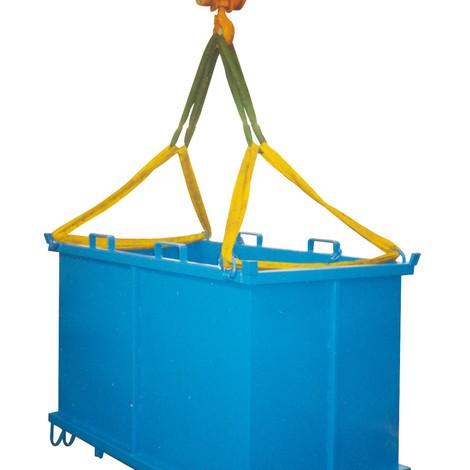 Kransnørehuller til foldning af bund container med automatisk udløsning