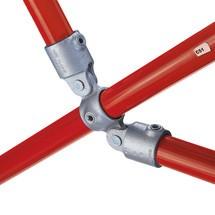 Kreuzverbinder mit 2 Gelenkabgängen für Kee Klamp® Rohrverbindersystem