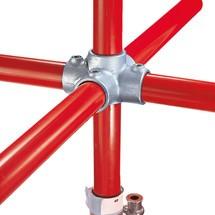 Kruisverbinding met 4 insteken voor het buisverbindingssysteem Kee Klamp®