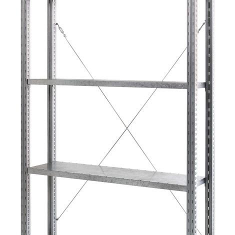 Krysstag för hyllställ med hyllplan av stålpaneler