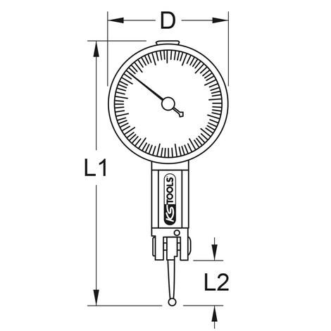KS TOOLS Präzisions-Messuhr mit Nulleinstellung 0 - 0,08 mm