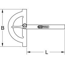 KS TOOLS Winkelgradmesser mit offenen Bogen