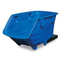 Kunststoff-Kippbehälter mit Gabeltaschen, Kippmechanismus