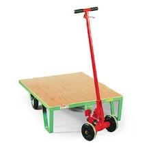 Laadbord met houten plateau, banden van elastisch rubber