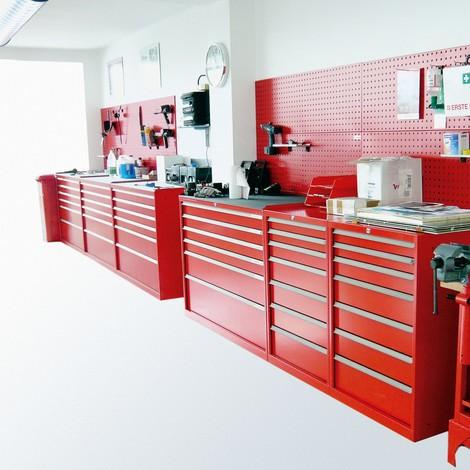 Ladenkast met gedeeltelijke uitschuiving, laden 1x50 + 2x100 + 1x150 + 1x200 mm, breedte 718 mm