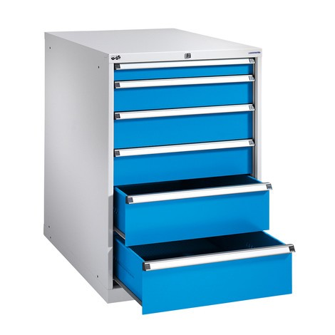 Ladenkast met gedeeltelijke uitschuiving, laden 1x50 + 2x100 + 2x150 + 1x200 mm