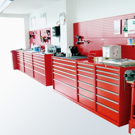 Ladenkast met volledig uittrekbare laden, laden 1x50 + 2x100 + 1x150 + 1x200 mm, breedte 718 mm
