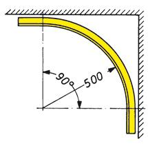 Laufschienenkurve aus Winkelstahl, verzinkt, 90°