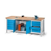 Ława warsztatowa PAVOY z2 blokami szuflad i szafką, wys. x szer. x gł. 900 x 2000 x 700 mm