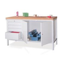 Ława warsztatowa PAVOY zblokiem szuflad i szafką, wys. x szer. x gł. 900 x 1500 x 700 mm