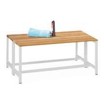 Ławka do przebieralni PAVOY z listew z drewna bukowego, dwustronna, długość 1000mm, bez półki na buty