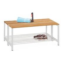 Ławka do przebieralni PAVOY z listew z drewna bukowego, dwustronna, długość 1000mm, z półką na buty