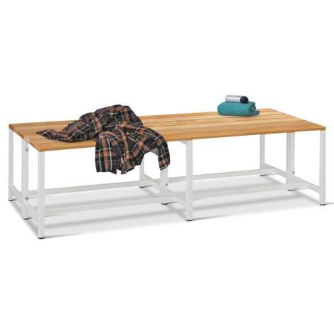 Ławka do przebieralni PAVOY z listew z drewna bukowego, dwustronna, długość 1500 mm, bez półki na buty