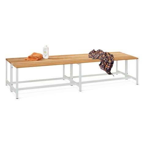 Ławka do przebieralni PAVOY z listew z drewna bukowego, dwustronna, długość 2000mm, bez półki na buty
