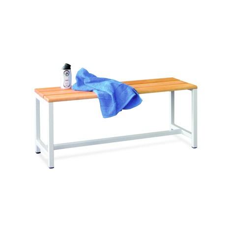 Ławka do przebieralni PAVOY z listew z drewna bukowego, jednostronna, długość 1000 mm, bez półki na buty