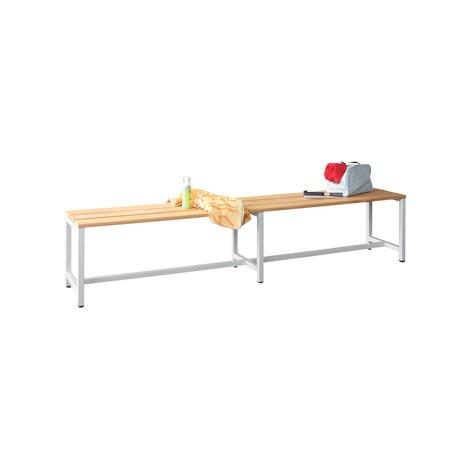 Ławka do przebieralni PAVOY z listew z drewna bukowego, jednostronna, długość 1500mm, bez półki na buty
