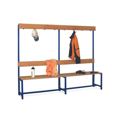 Ławka do przebieralni PAVOY z listew z drewna bukowego, jednostronna, z listwą z hakami, długość 2000mm, bez półki na buty