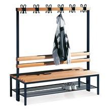 Ławka do szatni C+PPremium, dwustronna, zlistwą zhakami, długość 1500 mm, bez półki na buty