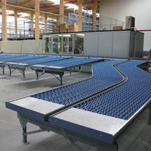 Leicht-Röllchenbahnen, Tragrollen aus Kunststoff, Kurve 45°