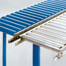 Leicht-Rollenbahnen, Tragrollen aus Stahlrohr, Kurve 45°