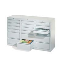 Leichter Schubladenschrank PAVOY, Gleitführung, Schubladen 18x100 + 3x200 mm, Breite 1.500 mm