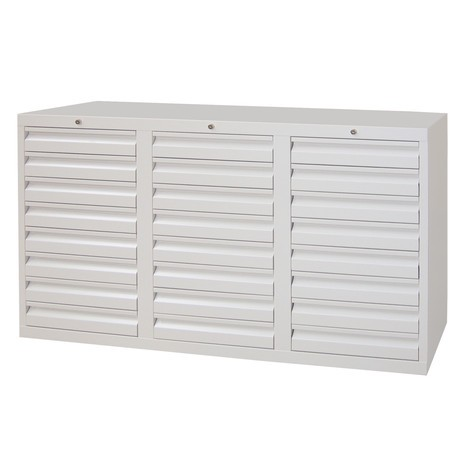 Leichter Schubladenschrank PAVOY, Gleitführung, Schubladen 24x100 mm, Breite 1.500 mm