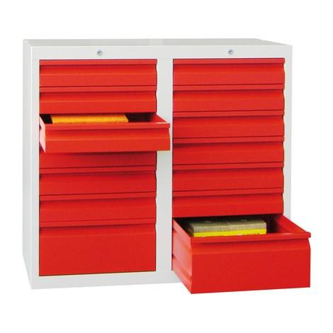 Leichter Schubladenschrank PAVOY, Rollenführung, Schubladen 12x100 + 2x200 mm, Breite 1.000 mm