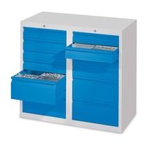 Leichter Schubladenschrank PAVOY, Rollenführung, Schubladen 8x100 + 4x200 mm, Breite 1.000 mm