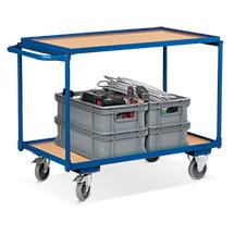 Leichter Tischwagen VARIOfit®, 2 Ladeflächen, waagerechter Bügel