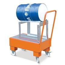 Lekbak van staal met wielen + vatenbok. Gelakt of verzinkt