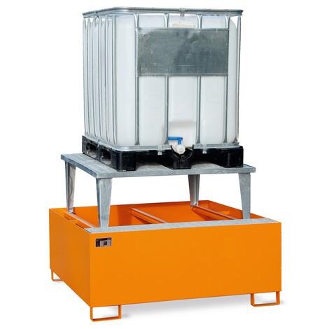 Lekbak van staal, voor 2 containers of 10x200 l-vaten
