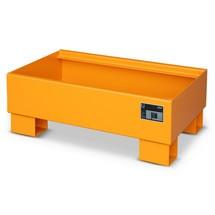 Lekbak van staal, voor 60 l-vaten, met rooster, 29cm, oranje