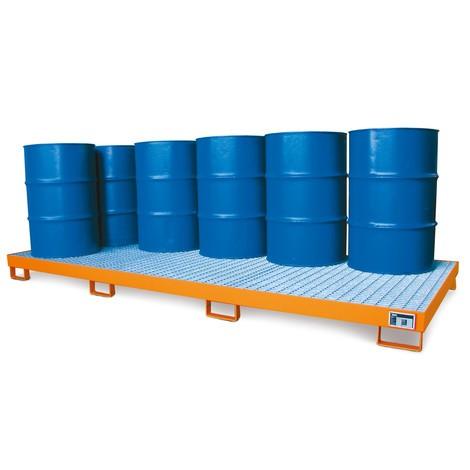 Lekbak van staal voor maximaal 12 x 200 liter vaten