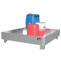 Lekbak van staal voor maximaal vier 200 l-vaten. Zonder rooster