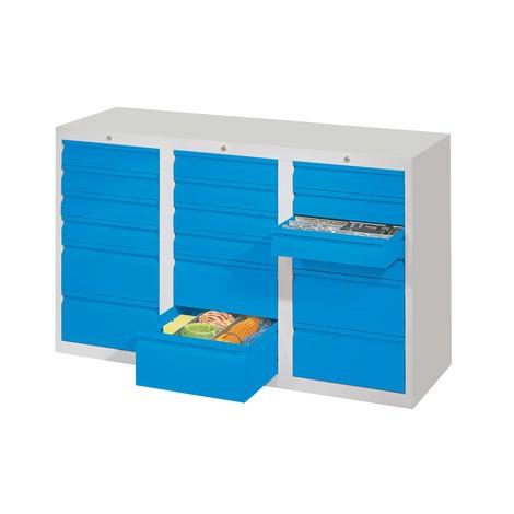 Lekka szafa z szufladami PAVOY, prowadnice rolkowe, szuflady 18 x 100 + 3 x 200 mm, szerokość 1500 mm