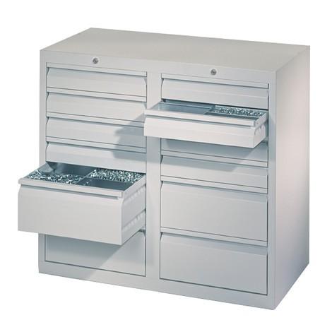 Lekka szafa z szufladami PAVOY, prowadnice rolkowe, szuflady 8 x 100 + 4 x 200 mm, szerokość 1000 mm