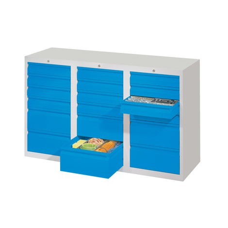 Lekka szafa z szufladami PAVOY, prowadnice ślizgowe, szuflady 12 x 100 + 6 x 200 mm, szerokość 1500 m