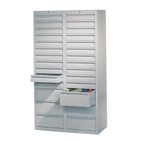 Lekka szafa z szufladami PAVOY, prowadnice ślizgowe, szuflady 22 x 100 + 6 x 200 mm, szerokość 1000 mm
