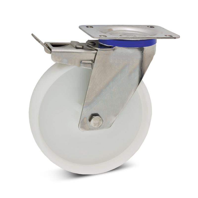 Lenkrad aus Polyamid mit Feststeller + Edelstahlgehäuse. Tragkraft 150 bis 400kg