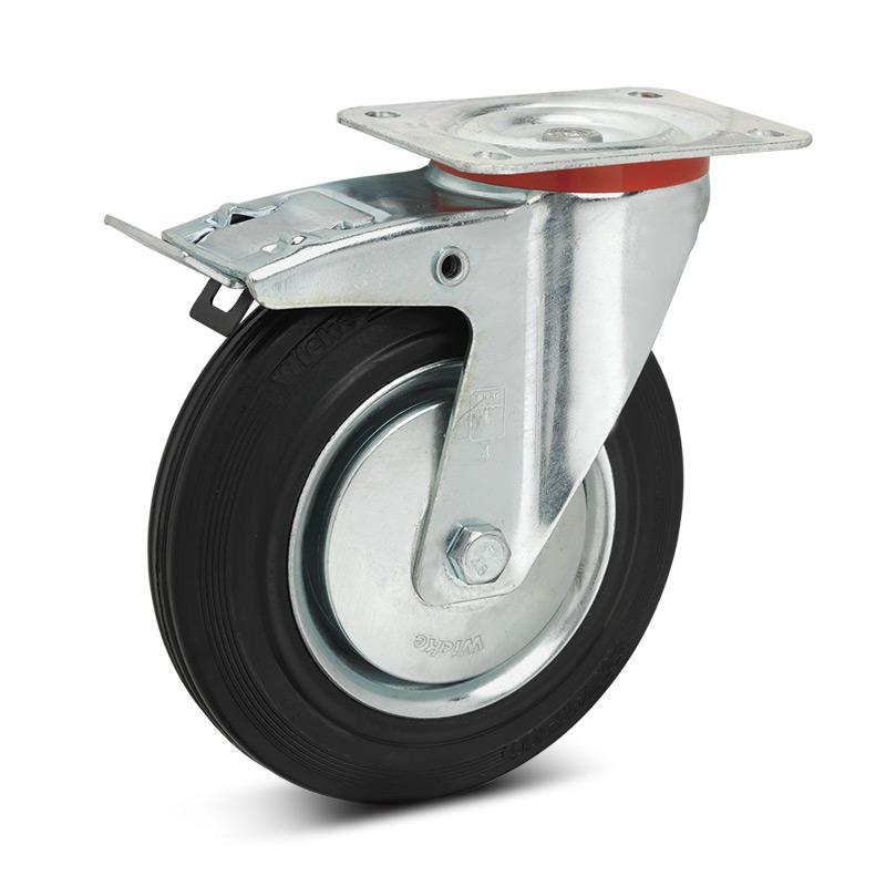 Lenkrad Premium aus Vollgummi, Feststeller+Stahlblechfelge. Tragkraft bis 205kg