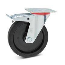 Lenkrad Wicke aus Elastik-Vollgummi mit Feststeller. Tragkraft 180 - 350 kg
