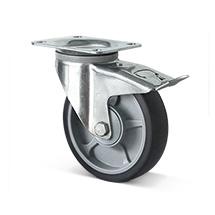 Lenkrolle mit Feststeller Basic aus TPE, spurlose, graue Thermoplastrolle, Tragkraft von 135-205 kg