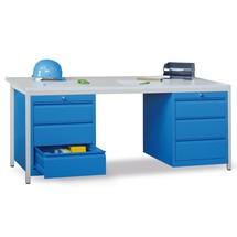 Lerarentafel, een ladeblok rechts + links, Fronthoogte mm: 1x75,1x125,1x300