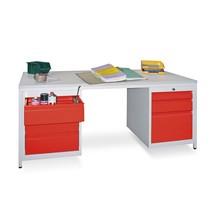 Lerarentafel met een ladeblok rechts en links, Fronthoogte mm: 1 x 150, 2 x 175