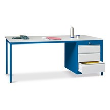 Lerarentafel met één ladeblok rechts, Fronthoogte mm 1 x 75, 1 x 125, 1 x 300
