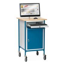 Lessenaar fetra®, met afsluitbare kast en uitschuifbare toetsenbordlade, verrijdbaar