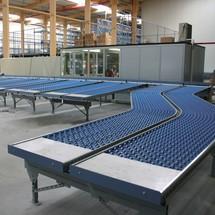 Lichte rollenbanen, draagrollen van verzinkte staalbuis, bocht 45°