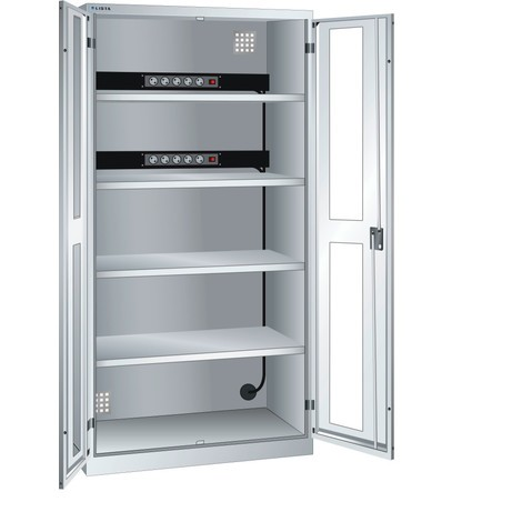 LISTA Akku-Ladeschrank, (BxTxH) 1000x580x1950mm, 2 Energieleisten Rückwand, Sichtfenster